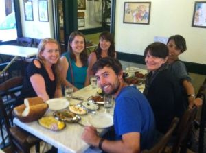 The crew and the spread - thanks to Kristen for the photo!