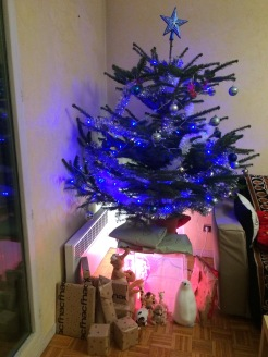 Xmas tree ft presents and a traditional nativity scene